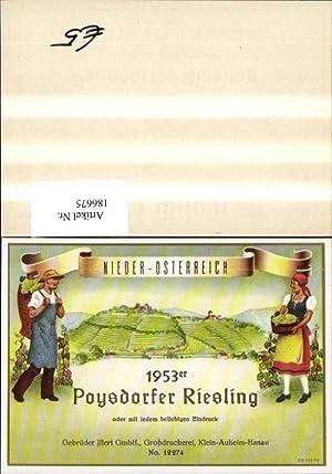 186675,Wein Sekt Reklame Flaschenetikett Poysdorfer Riesling Poysdorf