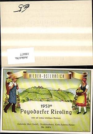 186677,Wein Sekt Reklame Flaschenetikett Poysdorfer Riesling Poysdorf