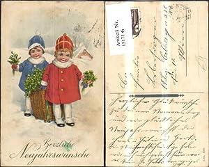 151716,Neujahr Kinder m. Korb Mistelzweigen Mistel Klee