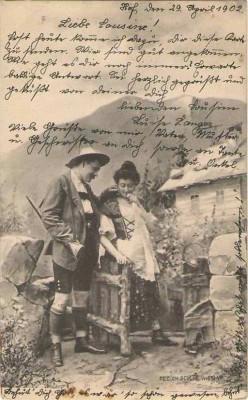 Fec. Ch. Scolik Jäger m. Bäuerin 1902