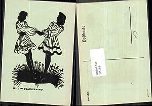 115789,Scherenschnitt Silhouette Spiel im Sommerwind Tanzen