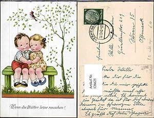126625,Fritz Baumgarten verliebte Kinder Vogel Bank Wenn