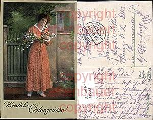545683,Künstler AK Ostern Frau Deutsche Feldpost S.B.