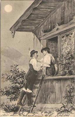 Fec. Ch. Scolik Bauern Paar am Fenster