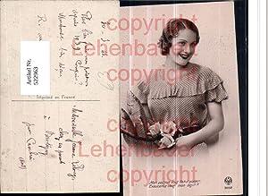 522963,Foto-AK Art Deco Mode Frau Blumen Rosen