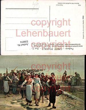 539074,Künstler AK Feyen Perrin Hafen Fischer Frauen