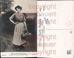 542706,Künstler AK Camille Bellanger Frau Korb Birnen