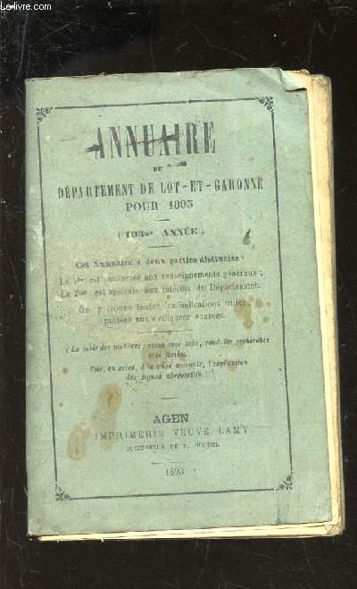 ANNUAIRE DU DEPARTEMENT DE LOT-ET-GARONNE POUR 1893 COLLECTIF Fair Softcover