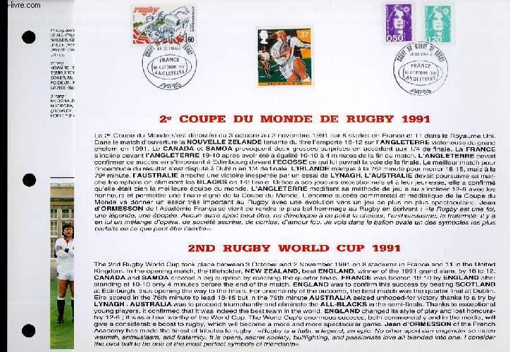 FEUILLET ARTISTIQUE PHILATELIQUE - CEF - 2° COUPE DU MONDE DE RUGBY 1991 COLLECTIF Near Fine