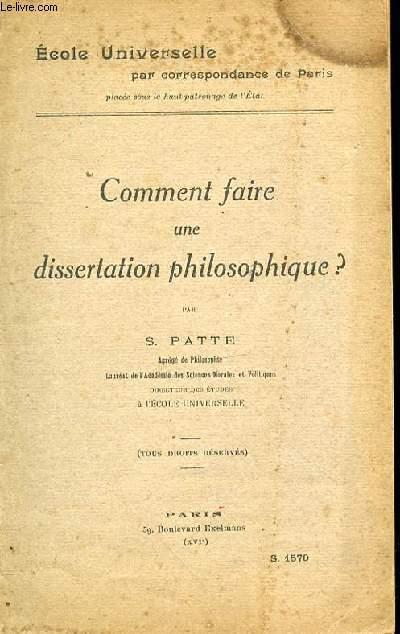Dissertation en philosophie comment faire
