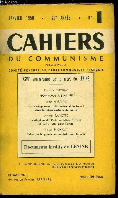 Cahiers Du Communisme N 1 Xxvie