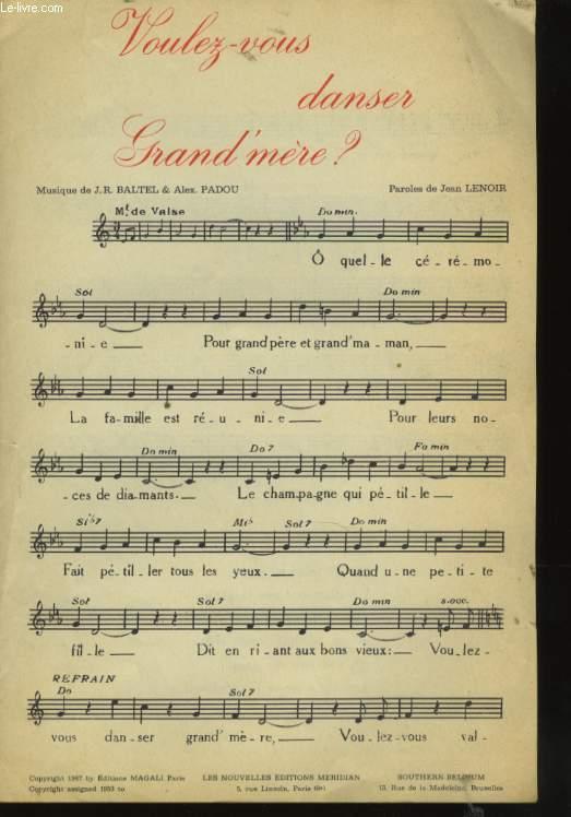 partition musique voulez vous danser grand mere