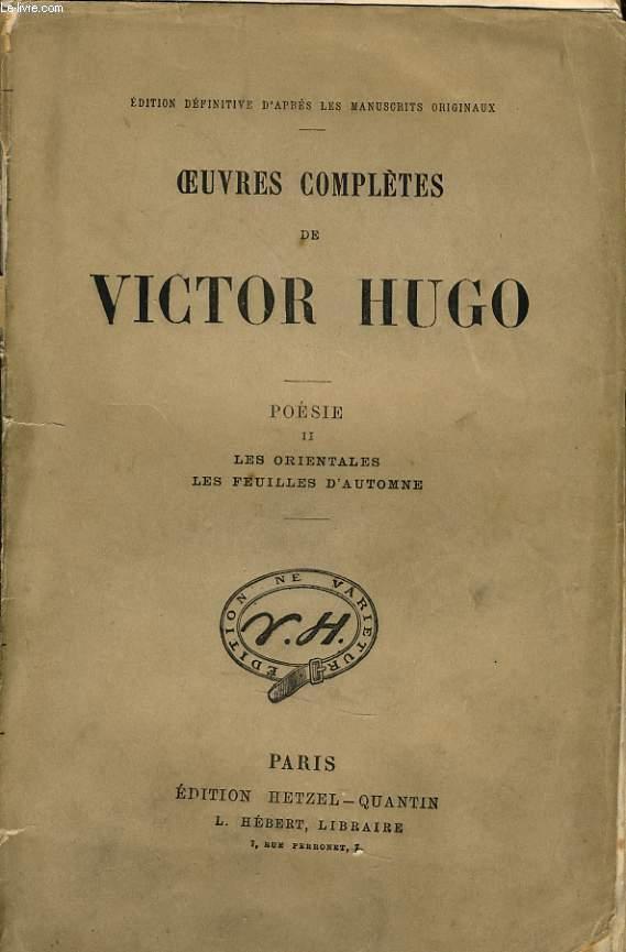 Oeuvres Completes De Victor Hugo Poésie Ii