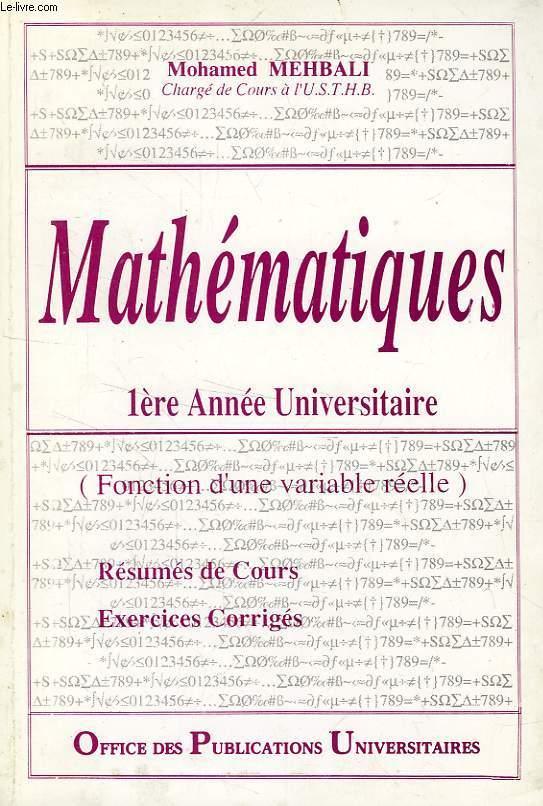Mathematiques 1re annee universitaire fonction d 39 une variable reelle par mehbali mohamed - Office allemand d echanges universitaires ...