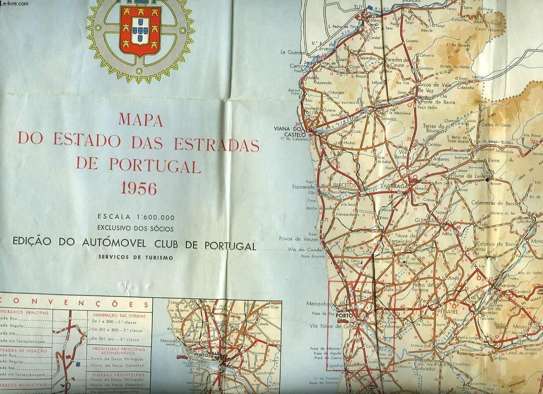 Mapa Do Estado Das Estradas De Portugal 1956 By Collectif 1956