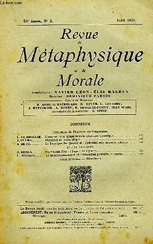 REVUE DE METAPHYSIQUE ET DE MORALE, 54e: COLLECTIF