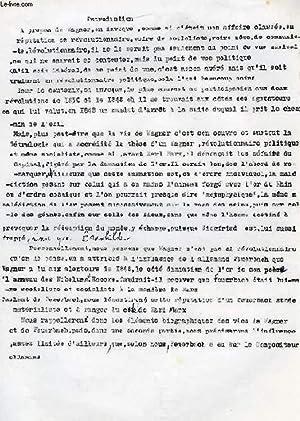 WAGNER ET FEUERBACH (CONFERENCE, MANUSCRIT): DAMIENS SUZANNE
