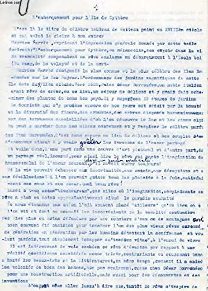 L'EMBARQUEMENT POUR L'ILE DE CYTHERE (ESSAI, MANUSCRIT): DAMIENS SUZANNE
