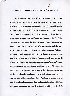 PEUT-ON PARLER D'UNE EXPERIENCE HISTORIQUE ?' (MANUSCRIT): DAMIENS SUZANNE