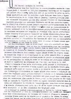 LES SOURCES ANTIQUES DE PARSIFAL (ESSAI, MANUSCRIT): DAMIENS SUZANNE