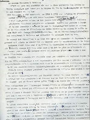 LA MAISON GOBINEAU A BORDEAUX (MANUSCRIT): DAMIENS SUZANNE