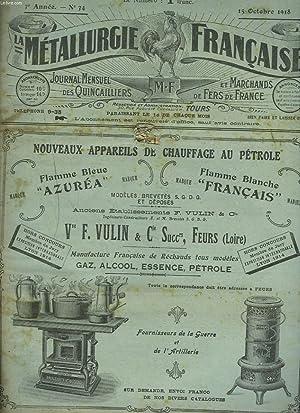 LA METALLURGIE FRANCAISE, JOURNAL MENSUEL DES QUINCAILIERS ET MARCHANDS DE FERS DE FRANCE N°34,...
