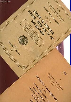 INSTRUCTIONS NAUTIQUES N°422 - SERIE D (I) + FASCICULE DES CORRECTIONS / DETROIT DE GIBRALTAR, ...