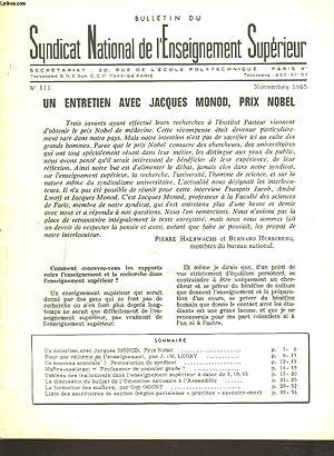 BULLETIN DU SYNDICAT NATIONAL DE L'ENSEIGNEMENT SUPERIEUR N°111, NOVEMBRE 1965. UN ...