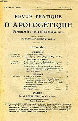 REVUE PRATIQUE D'APOLOGETIQUE, 2e ANNEE, TOME III, N° 25, OCT. 1906: COLLECTIF