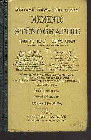 MEMENTO DE STENOGRAPHIE. PRINCIPES ET REGLES. EXERCICES: PAUL FLEURY, ERNEST