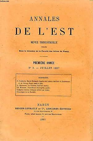 ANNALES DE L'EST, 1re ANNEE, N° 3, JUILLET 1887: COLLECTIF