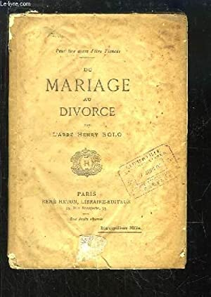 Du Mariage au Divorce: BOLO Henry Abbé