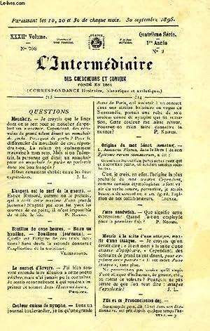 L'INTERMEDIAIRE DES CHERCHEURS ET CURIEUX, XXXIIe VOLUME, N° 703 (4e SERIE, 1re ANNEE, N&...