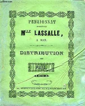 PENSIONNAT DIRIGE PAR Mlle LASSALLE, DAX, DISTRIBUTION DES PRIX, 1864: COLLECTIF