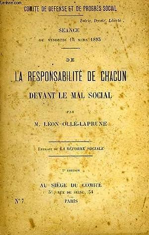 DE LA RESPONSABILITE DE CHACUN DEVANT LE MAL SOCIAL: OLLE-LAPRUNE LEON