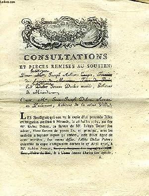 CONSULTATIONS ET PIECES REMISES AU SOUTIEN POUR (LE CITOYEN) M. JOSEPH AUBIAN, ECUYER DES ECURIES ...