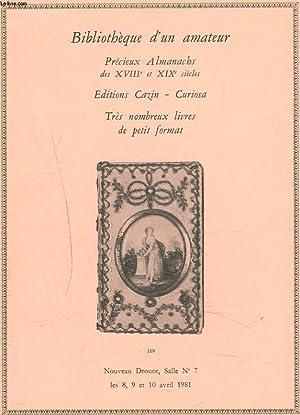 BIBLIOTHEQUE D'UN AMATEUR. PRECIEUX ALMANACHS DES XVIIIe: Me ANTOINE ADER,