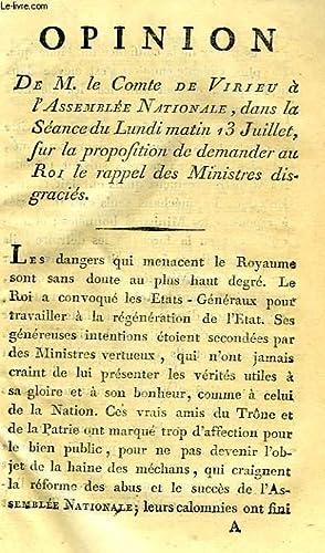 OPINION DE M. LE COMTE DE VIRIEU A L'ASSEMBLEE NATIONALE, DANS LA SEANCE DU LUNDI MATIN 13 ...