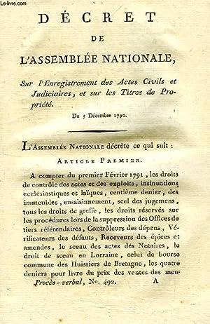 DECRET DE L'ASSEMBLEE NATIONALE, SUR L'ENREGISTREMENT DES ACTES CIVILS ET JUDICIAIRES, ET...