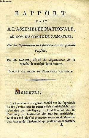 RAPPORT FAIT A L'ASSEMBLEE NATIONALE, AU NOM: GOSSIN M.