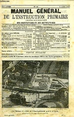MANUEL GENERAL DE L'INSTRUCTION PRIMAIRE, 104e ANNEE, N° 41, 3 JUILLET 1937: COLLECTIF