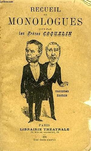RECUEIL DE MONOLOGUES: COQUELIN AINE & CADET