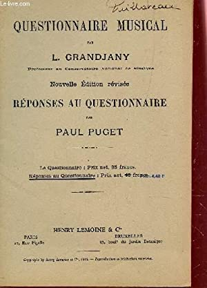 QUESTIONNAIRE MUSICAL - REPONSES AU QUESTIONNAIRE PAR PAUL PUGET.: GRANDJANY L. / PUGET PAUL