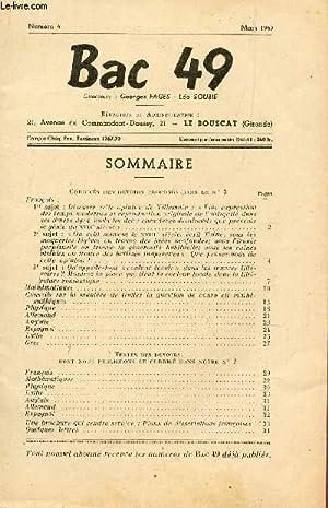 BAC 49 - NUMERO 4 - MARS 1949 / SOMMAIRE : CORRIGES DES DEVOIRS PROPOSES DANS LE N°3 + ...