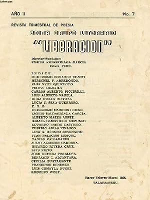 REVISTA TRIMESTRIAL DE POESIA EDITA GRUPO LITERARIO 'LIBERACION', AÑO II, N° 7...