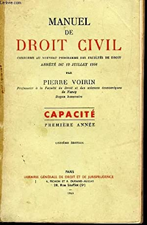 MANUEL DE DROIT CIVIL - CONFORME AU NOUVEAU PROGRAMME DES FACULTES DE DROIT ARRETE DU 12 JUILLET ...