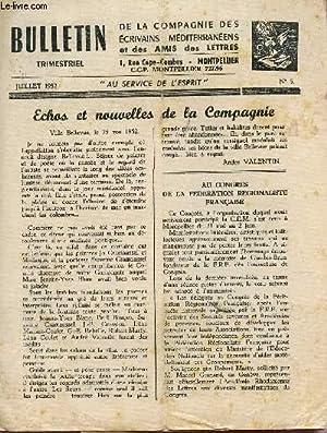 BULLETIN DE LA COMPAGNIE DES ECRIVAINS MEDITERRANEENS ET DES AMIS DES LETTRES / N°5 - ...