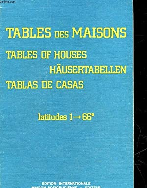 TABLES DES MAISONS - TABLES OF HOUSES: COLLECTIF