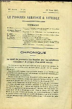 Le Progrès Agricole et Viticole, N°12 - 24ème année : Le droit de ...