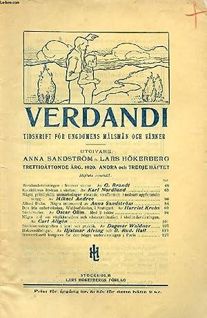 VERDANDI, TRETTIOÅTTONDE ÅRG. 1920, ANDRA O. TREDJE: COLLECTIF